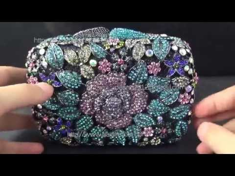 Handmade China Designer Handbags Purple Evening Clutch Purse Square Swarovski Crystal