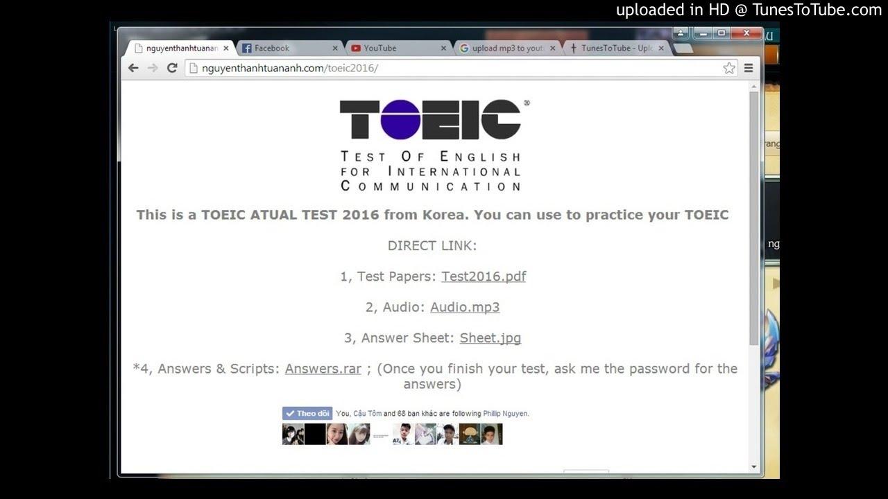 TOEIC ATUAL TEST 2016 (KOREA) - AUDIO MP3
