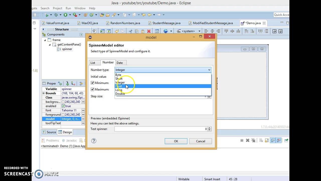 Manually changing the JSpinner limits in eclipse