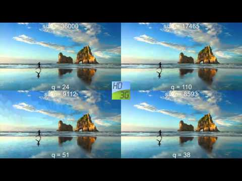 Video compression efficiency comparison for a static image with mpeg4, h264, hevc and jpeg2000.
