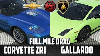 forza 5 full mile drag corvette zr1 vs lamborghini gallardo