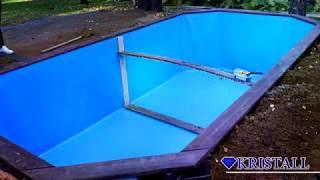Обзор монтажа деревянного бассейна из лиственницы.