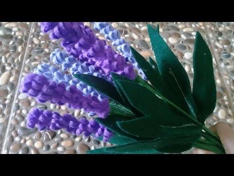 Cara Paling Mudah Membuat Bunga Lavender Dari Kain Flanel Youtube