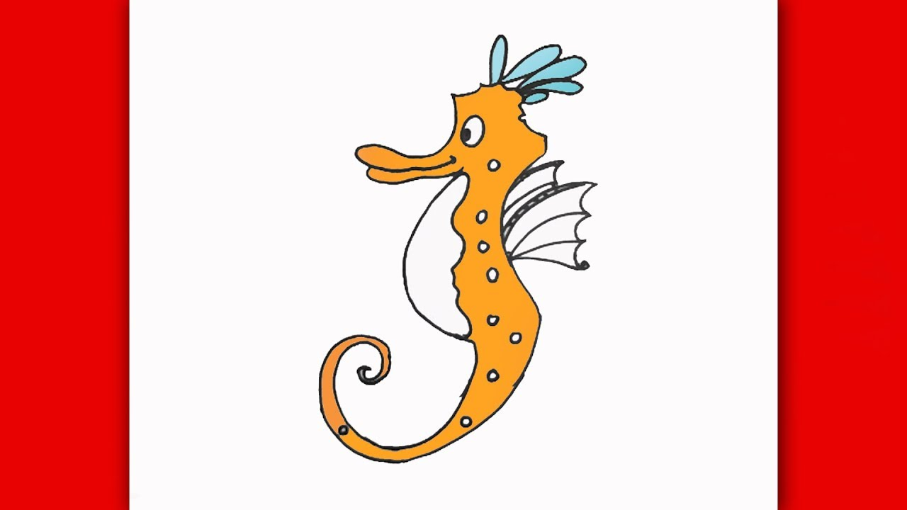 DRAW A SEAHORSE STEP BY STEP FOR KIDS  HOW TO CUTE CARTOON SEA