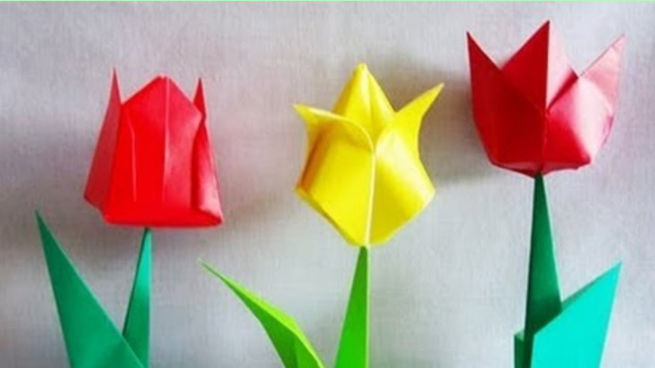 Origami tulip how to make an origami tulip flower making origami tulip how to make an origami tulip flower making beautiful paper tulip flowers jeuxipadfo Image collections