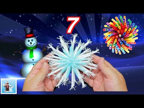 How to Reuse Drinking Straws and Make Snowflakes - 7 Art and Craft Ideas for Christmas Decorations