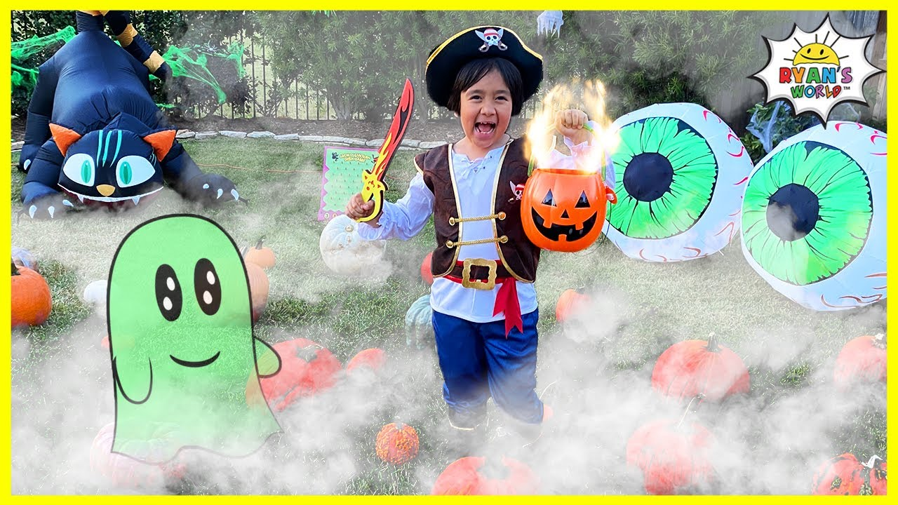 Ryan's Halloween Challenge in the Hunted Backyard!!