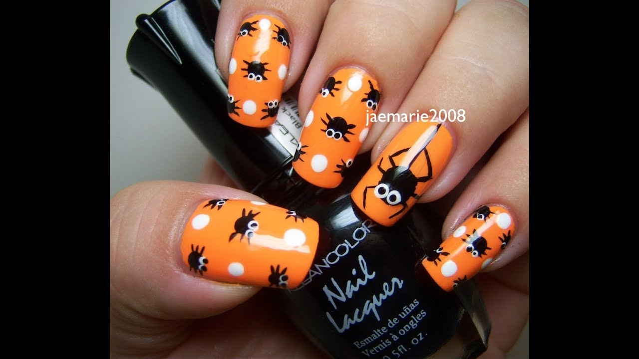 Halloween Nail Design- Polka Dot Spiders - YouTube