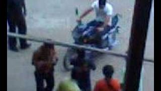 Dhoni Riding Bike in my Building