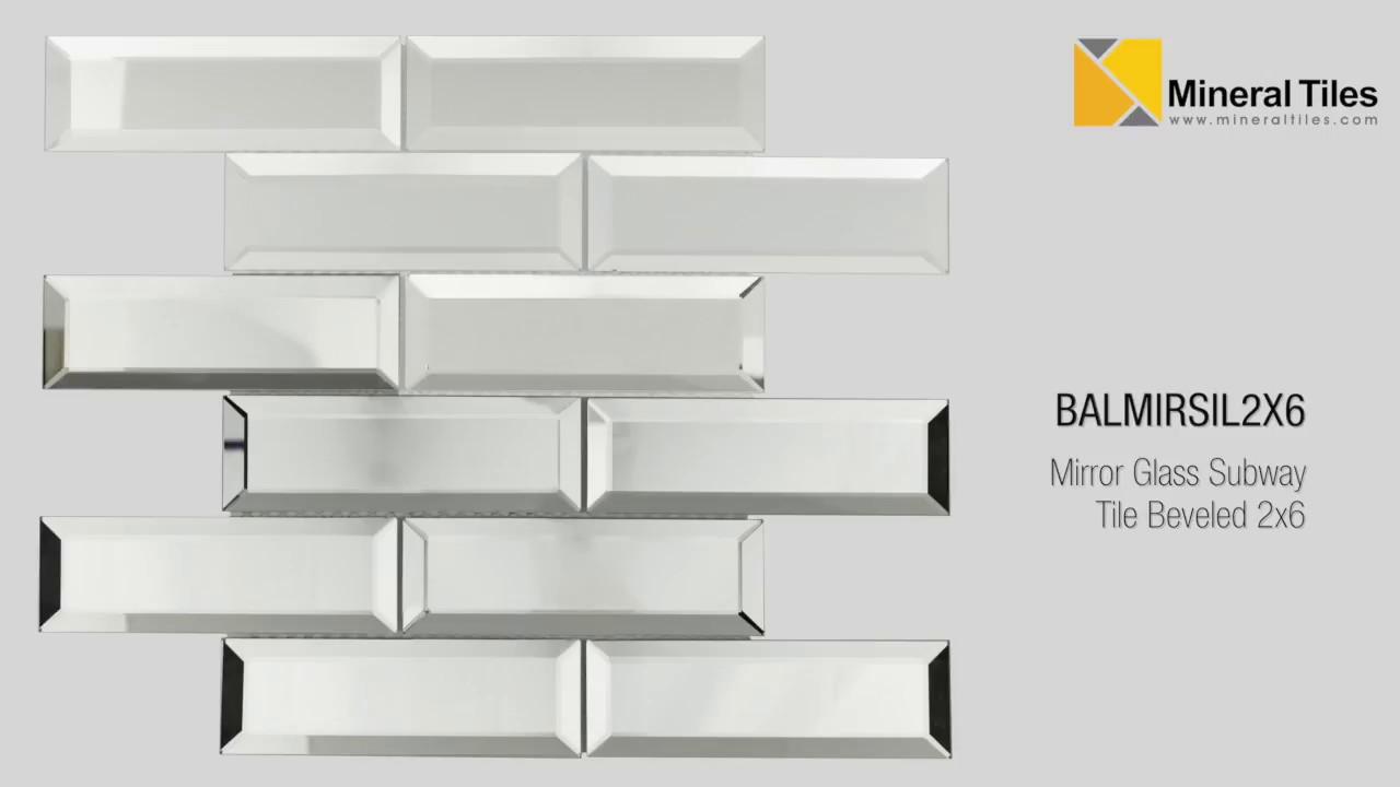 mirror glass subway tile beveled 2x6 balmirsil2x6