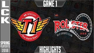 SKT vs KT Highlights Game 1 | LCK Playoffs Round 2 Spring 2018 | SK Telecom T1 vs KT Rolster G1