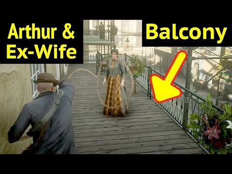 Arthur with Mary Linton on Balcony in Red Dead Redemption 2 (RDR2): Unscripted Events On Hotel Grand thumbnail