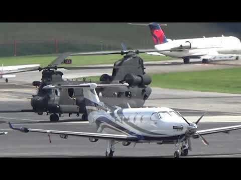 Triple US Army CH-47 Chinook Takeoffs from Tri-Cities Airport