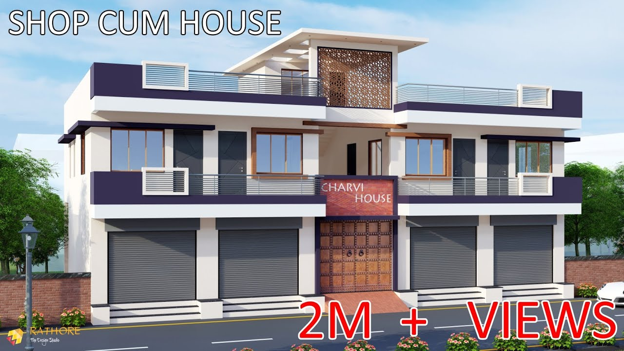 60 Feet Front Elevation Shop Cum House Small Flat