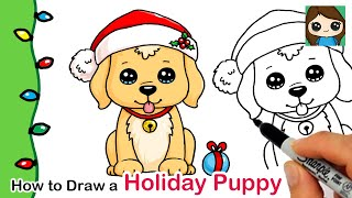 How to Draw a Holiday Puppy | Christmas Series #5