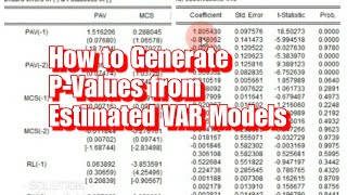 How to Generate P-Values from Estimated VAR Models (Eviews 10)