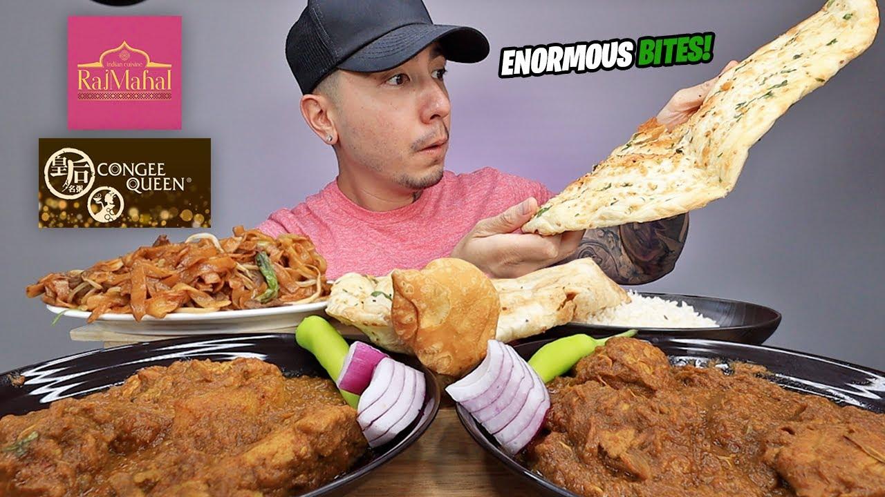 EATING Indian Chicken Curry, Beef Fried Rice Noodles, GARLIC NAAN, Chicken Vindaloo, Samosa MUKBANG