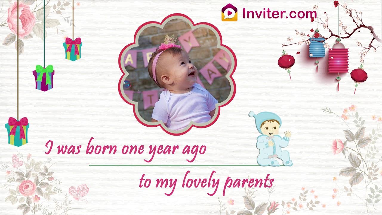 latest first birthday invitation video new 2019 inviter com