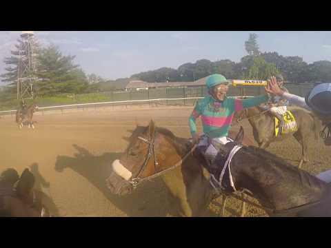 Go Pro Feature: Victor Espinoza high fives Jose Ortiz after 2017 Belmont Stakes win