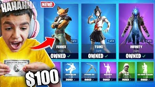 Kid Buys Entire Fortnite Item Shop With Brother's Credit Card! $100