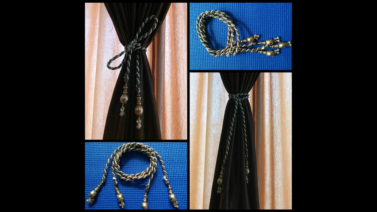 diy how to make curtain tie backs golden brown youtube. Black Bedroom Furniture Sets. Home Design Ideas