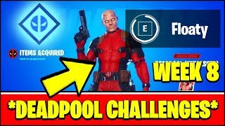 ALL DEADPOOL CHALLENGES WEEK 8 - DEADPOOL'S POOL FLOATY, YACHT, PISTOLS (Fortnite)