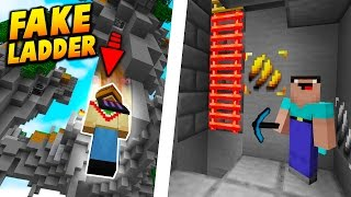 FAKE LADDER VOID FALL TROLL! - Minecraft SKYWARS TROLLING! (BEST TRAP!)