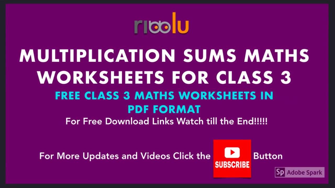 Multiplication Sums Class 3 Maths Worksheets   3rd Grade Mathematics -  YouTube [ 720 x 1280 Pixel ]