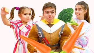 Nastya and Mia teach Artem to eat and exercise correctly