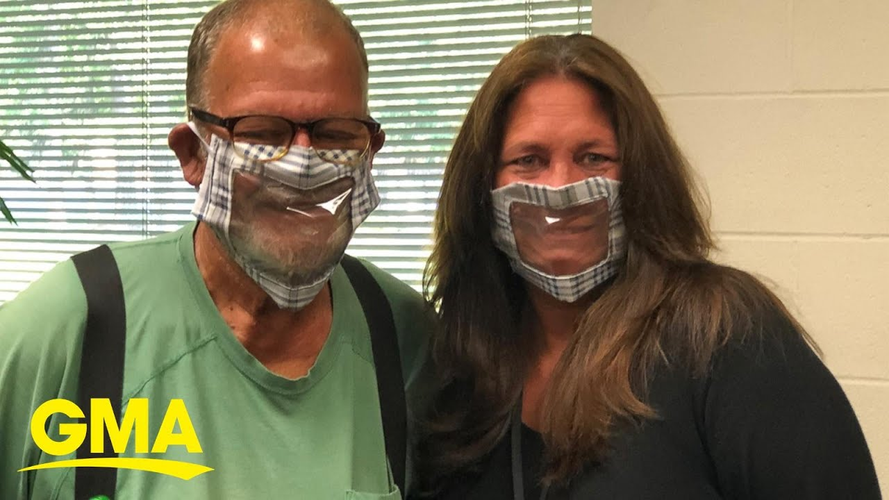 Woman crafts clear 'window' face mask to safely communicate with deaf co-worker l GMA Digital