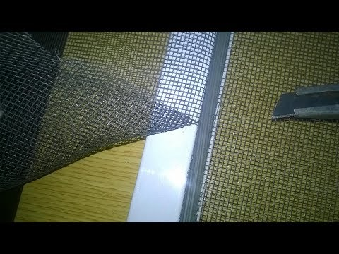 Как поменять сетку на москитной сетке видео