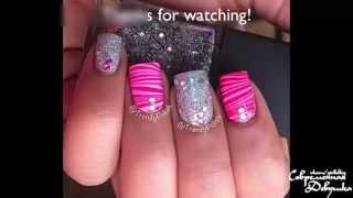 Водный полосатый маникюр - видео урок по дизайну ногтей / Stripe Watermarble Nail Art Tutorial