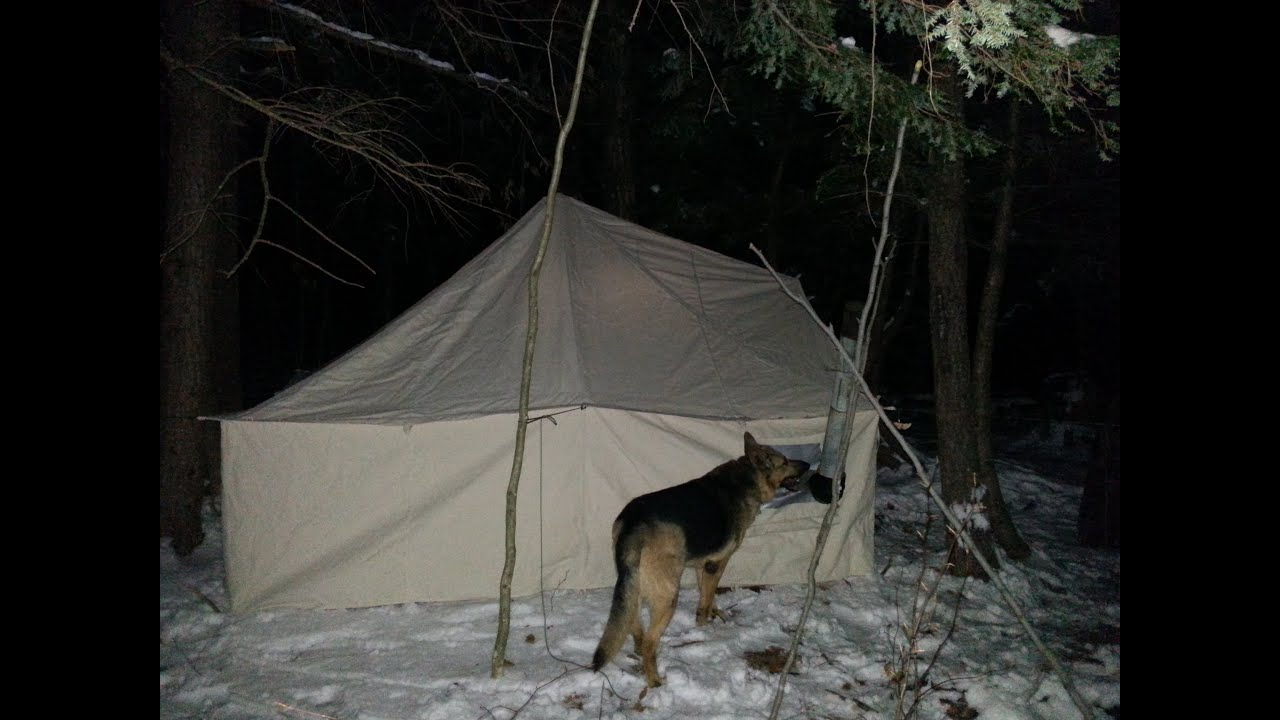 & Winter Hot Tent Overnight - YouTube