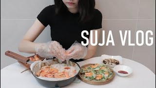 VLOG) 새우 먹방 브이로그, 새우 요리해먹은 일상(…