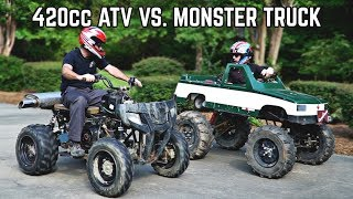 420cc ATV vs  Monster Truck Go Kart
