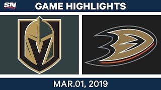 NHL Highlights   Golden Knights vs. Ducks - Mar 1, 2019