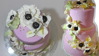 КАК СДЕЛАТЬ СВАДЕБНЫЙ ТОРТ САМОМУ . Three-tiered wedding cake. how to make a home.