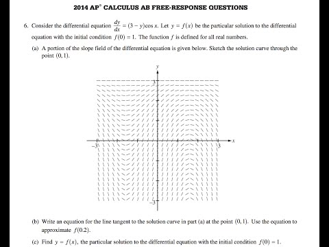 2014 AP Calculus AB Free Response question 6 - YouTube