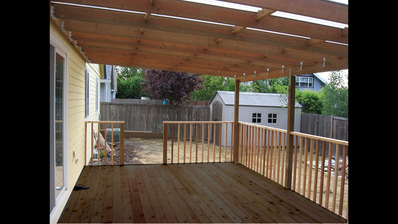 Building a patio deck cover youtube ccuart Images