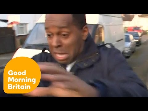 Andi Peters Hilariously Terrified By Dog And Trips Over Wheelie Bin! | Good Morning Britain