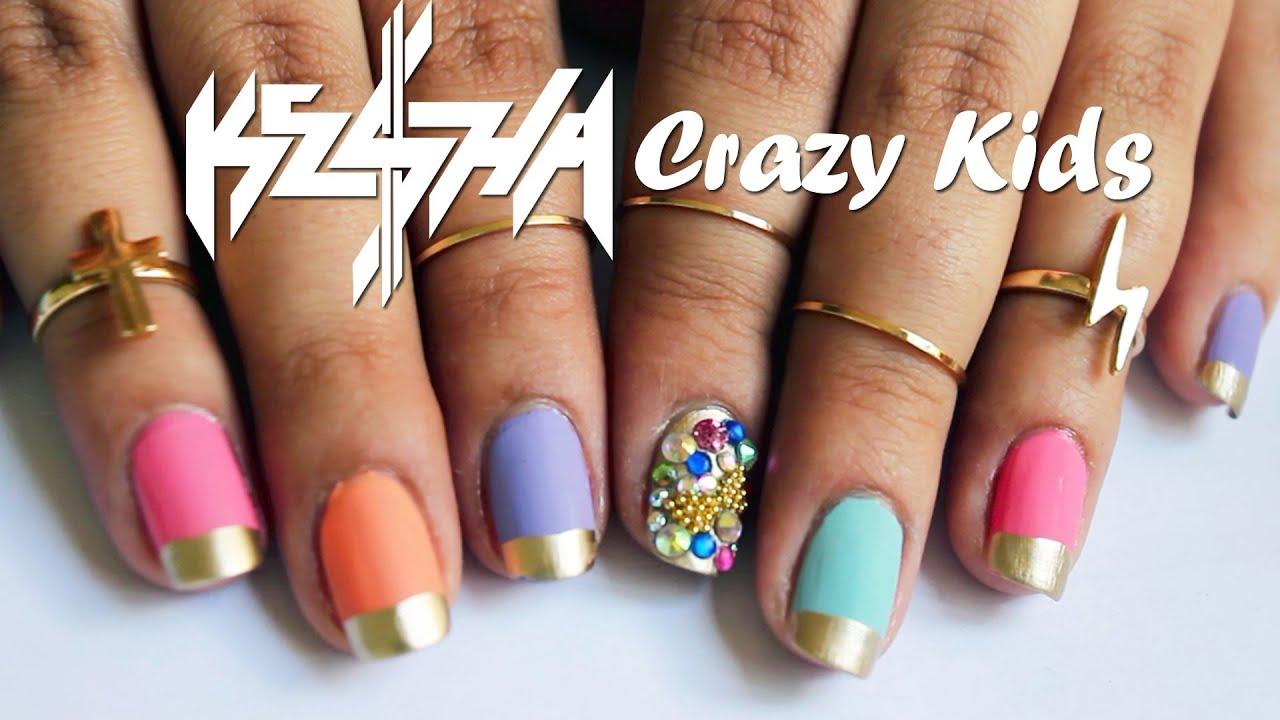 Ke$ha Crazy Kids Nails ♥ Tutorial - YouTube