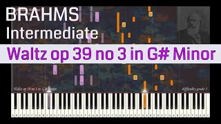 Johannes Brahms - Waltz op 39 no 3 in G# Minor | Synthesia Piano Tutorial | Library of Music