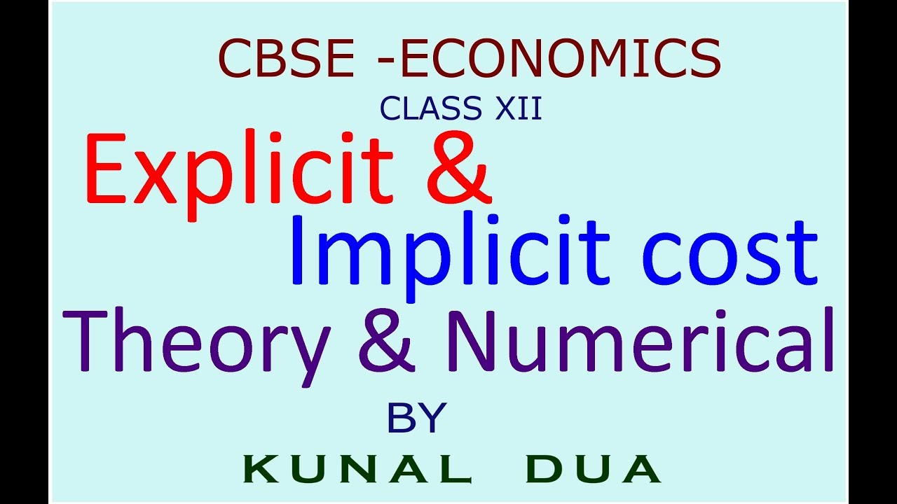 explicit cost implicit cost
