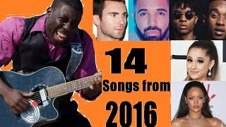 14 best 2016 songs on percussive guitar (in ~3 minutes) (covers)