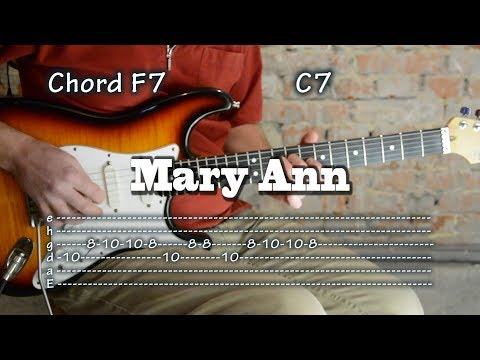 Mary Ann - (Ray Charles) Guitar Tab and Chords + drum track, como tocar, レッスン , табулатуры