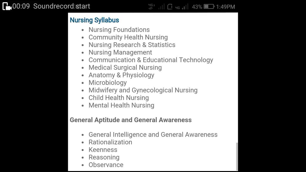 Staff nurse exam sylabus for staff nurse exam - YouTube