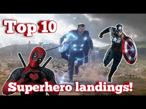 Top 10 epic superhero landings!🔥🔥🔥  MARVEL 