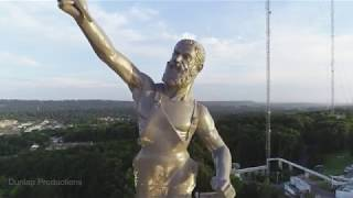 Drone video of Vulcan Statue in Birmingham, Alabama.