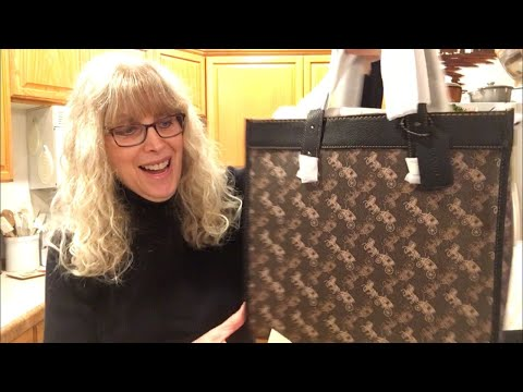 NEW COACH Field Tote With Horse & Carriage Print Unboxing: Mod Shots At End Of Video