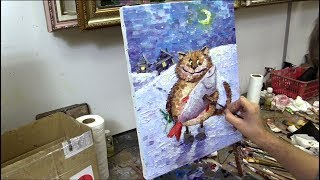 «В гости» Работа на мраморной пасте. Уроки масляной живописи в Москве. Workshops. Allaprima